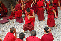 Novice Gelugpa monks, with mala beads, clap for emphasis while debating Buddhist philosophy in the courtyard at Drepung monastery, Lhasa, Tibet, China.