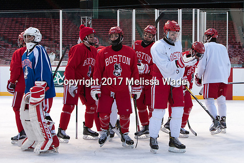 Nico Lynch (BU - 1), Jakob Forsbacka Karlsson (BU - 23), Bobo Carpenter (BU - 14), Oskar Andrén (BU - 26), John MacLeod (BU - 16), Gabriel Chabot (BU - 10) - The Boston University Terriers practiced on the rink at Fenway Park on Friday, January 6, 2017.The Boston University Terriers practiced on the rink at Fenway Park on Friday, January 6, 2017.