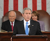 US President George W. Bush delivers the final State of the Union address of his presidency at the US Capitol in Washington 28 January 2008 as Vice President Dick Cheney and Speaker of the House Nancy Pelosi look on.   .Credit: Tim Sloan - Pool via CNP