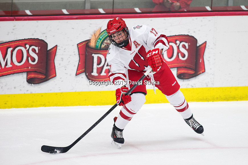 Wisconsin Badgers Blayre Turnbull (17) handles the puck against Team Japan during a women's hockey exhibition in Madison, Wisconsin, on September 23, 2013. The Badgers won 3-0. (Photo by David Stluka)