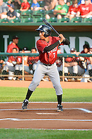 DonAndre Clark (7) of the Idaho Falls Chukars at bat against the Ogden Raptors in Pioneer League action at Lindquist Field on July 26, 2014 in Ogden, Utah.  (Stephen Smith/Four Seam Images)