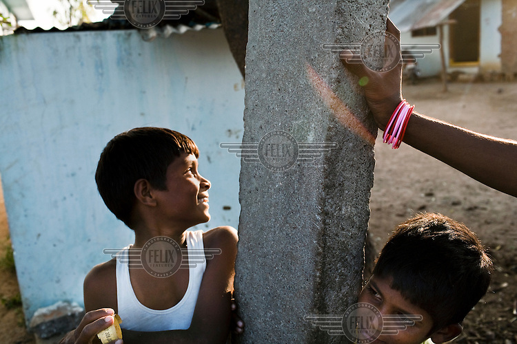 Children smile in Boilakunta village near Mahabubnagar.