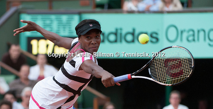 Venus Williams (USA) wins in the first round of Roland Garros on May 27, 2012
