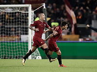 Football Soccer: UEFA Champions League AS Roma vs Chelsea Stadio Olimpico Rome, Italy, October 31, 2017. <br /> Roma's Diego Perotti (r) celebrates with his teammate Radja Nainggolan (l) after scoring during the Uefa Champions League football soccer match between AS Roma and Chelsea at Rome's Olympic stadium, October 31, 2017.<br /> UPDATE IMAGES PRESS/Isabella Bonotto
