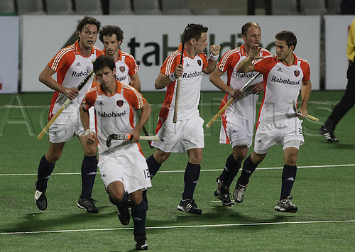 03/05/2010 Delhi,India.FIH World Cup Field Hockey. Netherlands v Canada. Netherlands' players celebrate after scoring the goal during their match against Canada at the men's Hockey World Cup in New Delhi. Photo: Pankaj Nangia/Actionplus - Editorial Use.