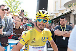 New race leader Yellow Jersey Julian Alaphilippe (FRA) Deceuninck-Quick Step at sign on before Stage 4 of the 2019 Tour de France running 213.5km from Reims to Nancy, France. 9th July 2019.<br /> Picture: Colin Flockton | Cyclefile<br /> All photos usage must carry mandatory copyright credit (© Cyclefile | Colin Flockton)