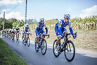 Iljo Keisse (BEL/Quick Step Floors) guiding Fernando Gaviria (COL/Quick Step Floors) through the peloton<br /> <br /> 102nd Kampioenschap van Vlaanderen 2017 (UCI 1.1)<br /> Koolskamp - Koolskamp (192km)
