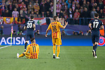 Atletico de Madrid's Juanfran and Saul Ñiguez and FC Barcelona Neymar and Jordi Alba during Champions League 2015/2016 Quarter-Finals 2nd leg match. April 13, 2016. (ALTERPHOTOS/BorjaB.Hojas)