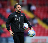 Lincoln City's assistant manager Nicky Cowley during the pre-match warm-up<br /> <br /> Photographer Chris Vaughan/CameraSport<br /> <br /> The EFL Checkatrade Trophy Group H - Lincoln City v Mansfield Town - Tuesday September 4th 2018 - Sincil Bank - Lincoln<br />  <br /> World Copyright © 2018 CameraSport. All rights reserved. 43 Linden Ave. Countesthorpe. Leicester. England. LE8 5PG - Tel: +44 (0) 116 277 4147 - admin@camerasport.com - www.camerasport.com