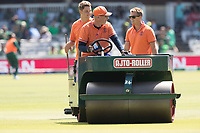 The wicket received a roll between innings during Pakistan vs Bangladesh, ICC World Cup Cricket at Lord's Cricket Ground on 5th July 2019