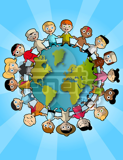 Illustration of multi ethnic children standing on planet representing teamwork