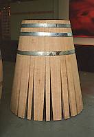 A half finished barrel made from Swedish oak but in the traditional fashion of wine barrel coopers. The staves have only been closed for half of the vat.