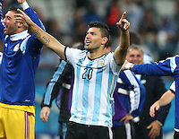 Sergio Aguero of Argentina celebrates winning the penalty shoot out to qualify for the final vs Germany