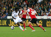 Pictured L-R: Wilfried Bony of Swansea fouled by Craig Morgan of Rotherham. Tuesday 26 August 2014<br /> Re: Capital One Cup, Swansea City FC v Rotherham at the Liberty Stadium, south Wales