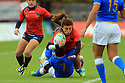 BELFAST, NORTHERN IRELAND - AUGUST 26: Spain' Maria Casado is tackled by  Italy's Sofia Stefan (L) and Elisa Giordano (R) during a final play off  in the Women's World Cup Rugby 2017 at Queen's  University Belfast, Saturday,  August 26, 2017. Photo/Paul McErlane