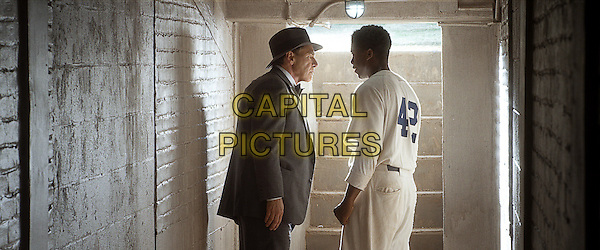 HARRISON FORD &amp; CHADWICK BOSEMAN<br /> in 42: The True Story of An American Legend (2013) <br /> *Filmstill - Editorial Use Only*<br /> CAP/NFS<br /> Image supplied by Capital Pictures