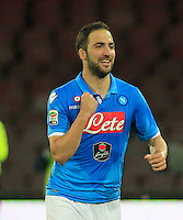 Gonzalo Higuain  i celebrates after scoring during the Italian Serie A soccer match between   SSC Napoli and UC Sampdoria at San Paolo  Stadium in Naples ,April 26 , 2015