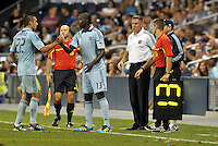 Sporting KC substitution Lawrence Olum (13) coming on for Davy Arnaud (22)... Sporting Kansas City defeated Columbus Crew 2-1 at LIVESTRONG Sporting Park, Kansas City, Kansas.