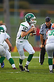 Pembroke Dragons quarterback Reid Miano (10) drops back to pass against the Attica Blue Devils at Attica Central School on September 11, 2015 in Attica, New York.  Attica defeated Pembroke 36-0.  (Copyright Mike Janes Photography)z