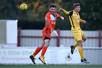 George Purcell of Hornchurch is denied by James Bradbrook of Brightlingsea during Brightlingsea Regent vs AFC Hornchurch, Buildbase FA Trophy Football at North Road on 10th November 2018