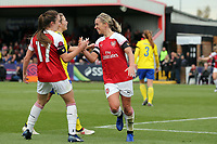 Jordan Nobbs of Arsenal Women is congratulated after scoring the third goal during Arsenal Women vs Birmingham City Ladies, FA Women's Super League Football at Meadow Park on 4th November 2018