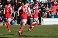 Ashley Hunter of Fleetwood Town (right) celebrates after he scores his team's first goal of the game to make the score 1-1 during the Sky Bet League 1 match between Fleetwood Town and MK Dons at Highbury Stadium, Fleetwood, England on 24 February 2018. Photo by David Horn / PRiME Media Images