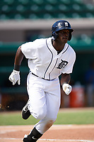 Detroit Tigers Daz Cameron (38) runs to first base during an Instructional League game against the Toronto Blue Jays on October 12, 2017 at Joker Marchant Stadium in Lakeland, Florida.  (Mike Janes/Four Seam Images)