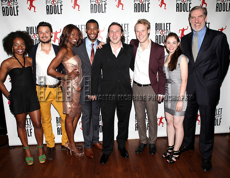 Marsha Stephanie Blake, Lee Osorio, Shamika Cotton, Tyler Jacob Rollinson, Brandon Coffey, David Coomber, Shannon Garland and Nick Wyman attending the Opening Night Performance After Party for 'Bullet For Adolf' at Hurley's Saloon in New York City on 8/8/2012.