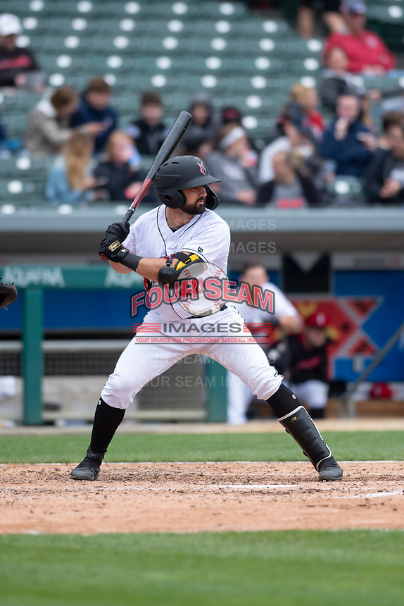 Indianapolis Indians catcher Christian Kelley (26) during an International League game against the Columbus Clippers on April 30, 2019 at Victory Field in Indianapolis, Indiana. Columbus defeated Indianapolis 7-6. (Zachary Lucy/Four Seam Images)