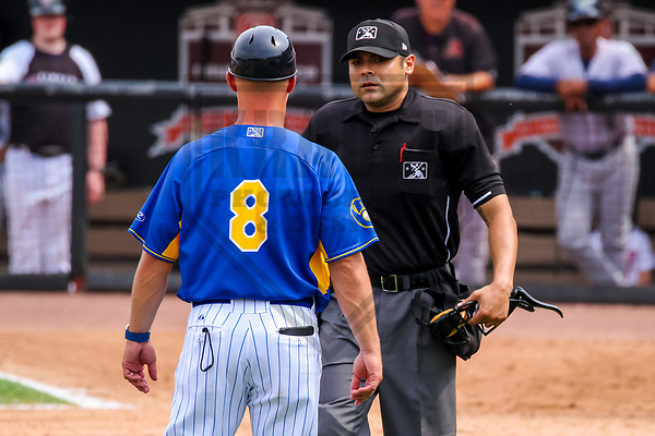 Wisconsin Timber Rattlers manager Matt Erickson (8) and home plate umpire Joe Gonzalez during a Midwest League game against the Kane County Cougars on June 11, 2017 at Fox Cities Stadium in Appleton, Wisconsin.  Kane County defeated Wisconsin 6-4. (Brad Krause/Krause Sports Photography)