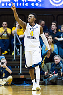 Morgantown, WV - NOV 18, 2017: West Virginia Mountaineers guard Daxter Miles Jr. (4) is fired up after a three point play during game between West Virginia and Morgan State at WVU Coliseum Morgantown, West Virginia. (Photo by Phil Peters/Media Images International)