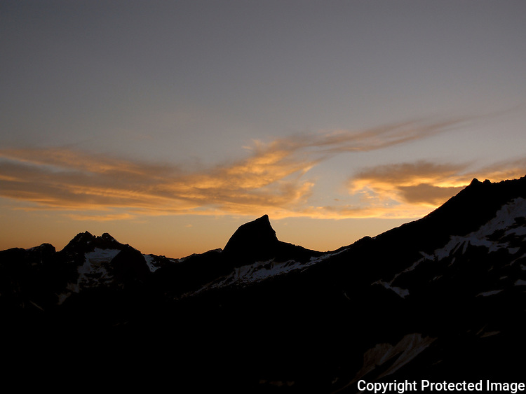 Sunset on the Chopping Block, southern Picket Range in Washington state's North Cascade Mountains.