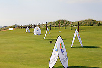 G.U.I advertisement boards on the 1st during the Afternoon Singles between Ireland and Wales at the Home Internationals at Royal Portrush Golf Club on Thursday 13th August 2015.<br /> Picture:  Thos Caffrey / www.golffile.ie
