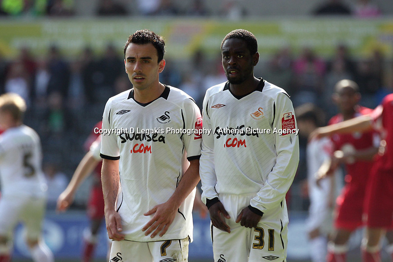 ATTENTION SPORTS PICTURE DESK<br /> Pictured L-R: Leon Britton and Nathan Dyer of Swansea<br /> Re: Coca Cola Championship, Swansea City FC v Bristol City FC at the Liberty Stadium Swansea, south Wales. Saturday 18 April 2009.<br /> Picture by D Legakis Photography / Athena Picture Agency, Swansea 07815441513