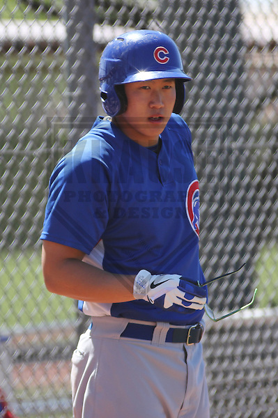 MESA - March 2013: Dong-Yub Kim (20)  of the Chicago Cubs during a Spring Training game against the Cincinnati Reds on March 24, 2013 at Fitch Park in Mesa, Arizona.  (Photo by Brad Krause).