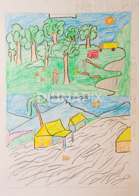 "A winning entry in a drawing contest that followed the theme of the Pride Campaign: ""When the forest is looked after, people prosper."" The drawing shows flooding resulting from unchecked logging."