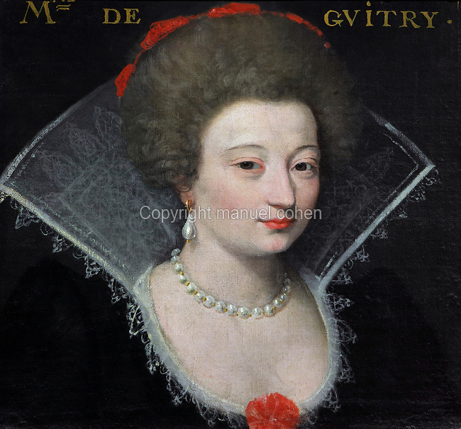 Portrait of Madame de Guitry, with a high lace collar and pearl jewellery, oil painting on canvas, c. 1625, by unknown artist, from the Gallery of portraits from the Chateau de Saint Germain-Beaupre, Creuse, now in the Musee des Beaux-Arts de la Ville de Blois, housed since 1869 on the first floor of the Louis XII wing of the Chateau Royal de Blois, built 13th - 17th century in Blois in the Loire Valley, Loir-et-Cher, Centre, France. The museum originally opened in 1850 in the Francois I wing, but moved here in 1869 after the rooms had been restored by Felix Duban in 1861-66. The chateau has 564 rooms and 75 staircases and is listed as a historic monument and UNESCO World Heritage Site. Picture by Manuel Cohen