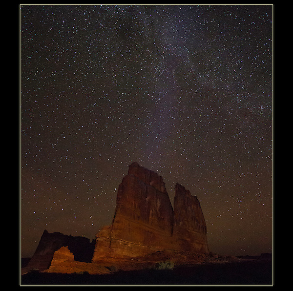 Night photography workshops.  The Organ rock formation and the Milky Way, Arches National Park, UT.<br /> Outside Imagery offers night photography instruction and tours.  Year-round Utah photo tours.