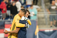 FOXBOROUGH, MA - SEPTEMBER 29: Matt Turner #30 of New England Revolution and Brandon Bye #15 of New England Revolution celebrate winning the game during a game between New York City FC and New England Revolution at Gillettes Stadium on September 29, 2019 in Foxborough, Massachusetts.