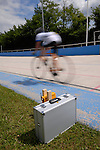DARMSTADT, GERMANY - JUNE 10: Track Cycling on Day 2 of the Hessenmeisterschaften 2012 at Velociped-Club 1899 Darmstadt Velodrom on June 10, 2012 in Darmstadt, Germany. (Photo by Dirk Markgraf)