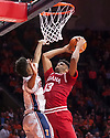 Jan 24, 2018; Champaign, IL, USA; Indiana Hoosiers forward Juwan Morgan (13) shoots defended by Illinois Fighting Illini guard Trent Frazier (1) during the second half at State Farm Center. Mandatory Credit: Mike Granse-USA TODAY Sports
