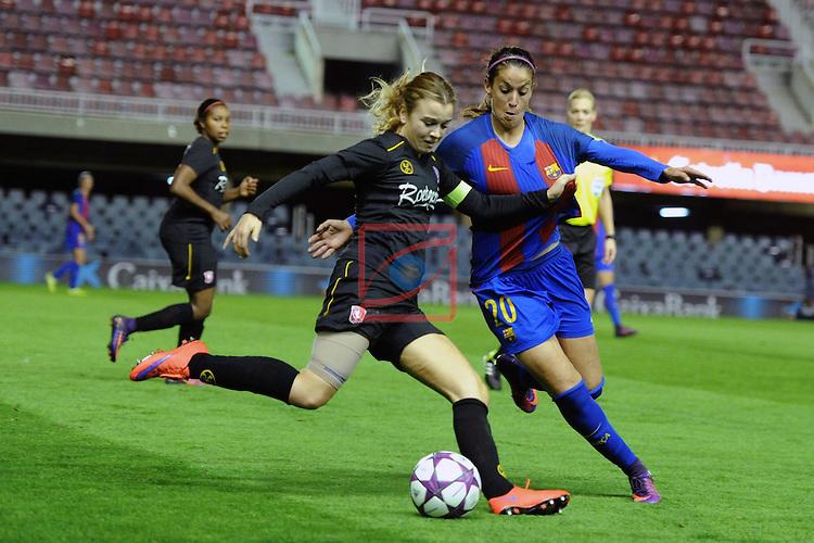 UEFA Women's Champions League 2016/2017.<br /> Round of 16 - First Leg<br /> FC Barcelona vs Twente: 1-0.<br /> Roetgering vs Olga Garcia.