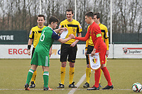 20180308 - TUBIZE , BELGIUM : Belgian Dragan Lausberg (R) and Northern Irish Dylan Boyle pictured during a friendly game between the teams of the Belgian Red Devils Under 16 and Northern Ireland Under 16 at the Belgian Football Centre in Tubize , Thursday 8 th March 2018 ,  PHOTO Dirk Vuylsteke | Sportpix.Be