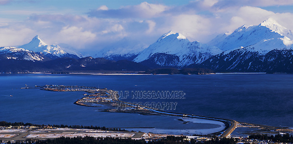 Homer Spit and snow covered Mountains at sunset, Homer, Kachemak Bay, Kenai Peninsula Borough, Alaska, USA, March 2000
