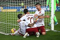 Henrikh Mkhitaryan of AS Roma celebrates with Diego Perotti and Lorenzo Pellegrini after scoring the goal of 1-3 <br /> Verona 1-12-2019 Stadio Bentegodi <br /> Football Serie A 2019/2020 <br /> Hellas Verona - AS Roma <br /> Photo Gino Mancini / Insidefoto