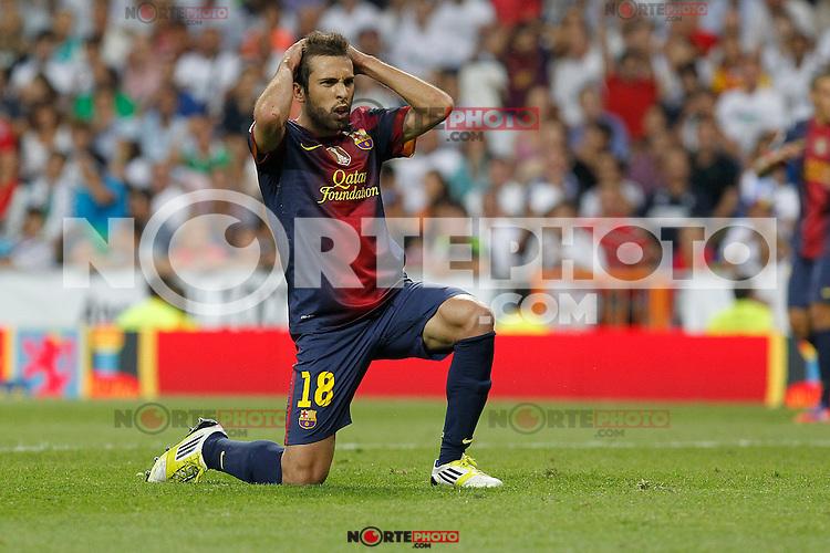F.C. Barcelona's Jordi Alba during Spanish Supercup 2nd match on august 29 2012...Photo: Cebola / Cid-Fuentes / ALFAQUI /NortePhoto.com<br /> <br /> **CREDITO*OBLIGATORIO** <br /> *No*Venta*A*Terceros*<br /> *No*Sale*So*third*<br /> *** No*Se*Permite*Hacer*Archivo**<br /> *No*Sale*So*third*