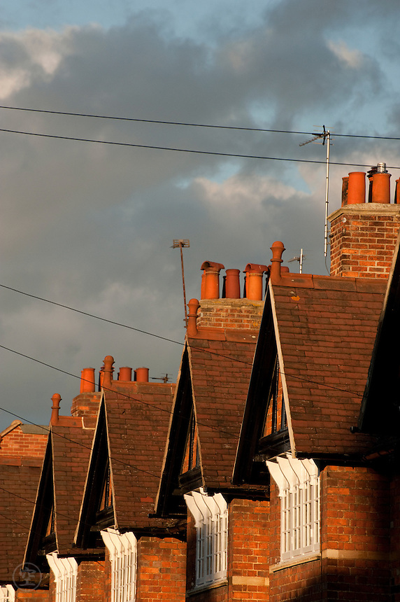 Gabled row houses in Jericho, Oxford, in the afternoon light.