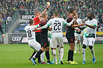 06.10.2019, Borussia Park , Moenchengladbach, GER, 1. FBL,  Borussia Moenchengladbach vs. FC Augsburg,<br />  <br /> DFL regulations prohibit any use of photographs as image sequences and/or quasi-video<br /> <br /> im Bild / picture shows: <br /> gelbe Karte für Rani Khedira (FC Augsburg #8),  fuer ein Foul an Patrick Herrmann (Gladbach #7),   <br /> <br /> Foto © nordphoto / Meuter