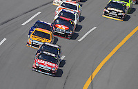 Oct 5, 2008; Talladega, AL, USA; NASCAR Sprint Cup Series driver Carl Edwards (99) leads the field during the Amp Energy 500 at the Talladega Superspeedway. Mandatory Credit: Mark J. Rebilas-