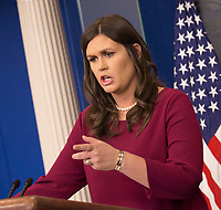 White House spokesperson Sarah Sanders hold a news briefing at The White House in Washington, DC, March 10, 2018. <br /> CAP/MPI/RS<br /> &copy;RS/MPI/Capital Pictures